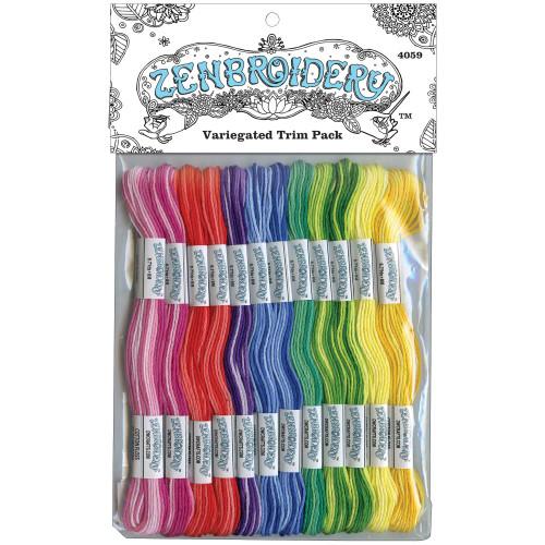 Design Works Zenbroidery Stitching Trim Pack 12/Pkg - Variegated
