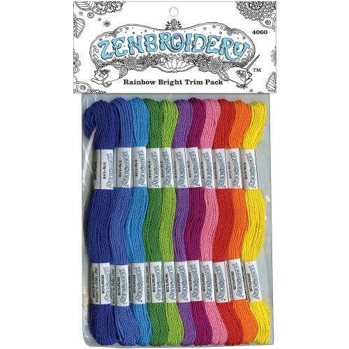 Design Works Zenbroidery Stitching Trim Pack 12/Pkg - Rainbow
