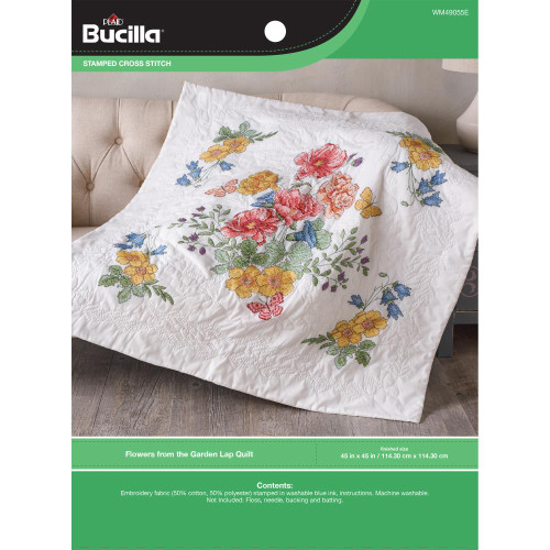 Bucilla Stamped Cross Stitch Lap Quilt Kit - Flowers From The Garden