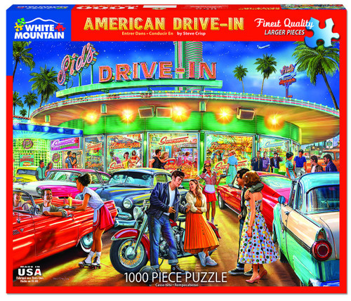 White Mountain 1000 Pc. Jigsaw Puzzle - American Drive-In