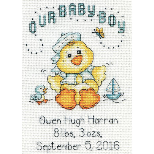 Design Works Counted Cross Stitch Kit - Baby Chick Boy Birth Record