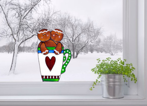 Faux Stained Glass Gingerbread Mug Window Cling