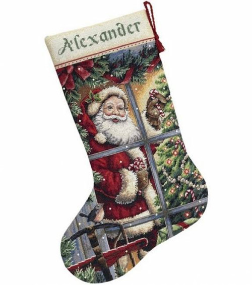 Dimensions Gold Collection Counted Cross Stitch Kit - Candy Cane Santa Stocking