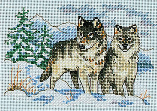 Dimensions Counted Cross Stitch Kit - A Pair Of Wolves