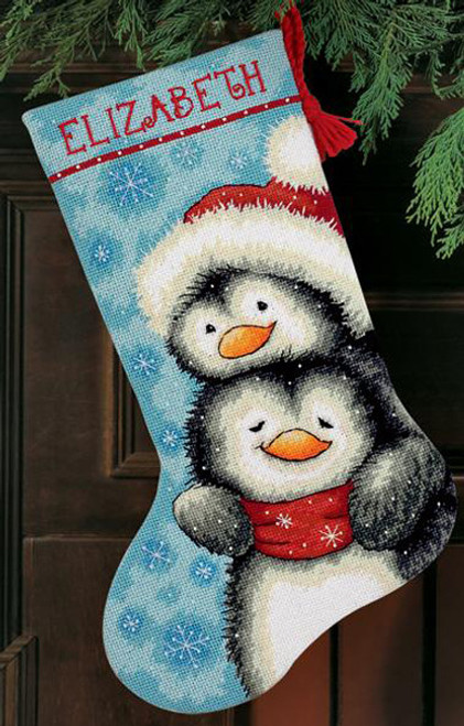 Dimensions Needlepoint Stocking Kit - Hugging Penguins