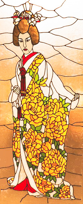 Japanese Bride Faux Stained Glass Window Film