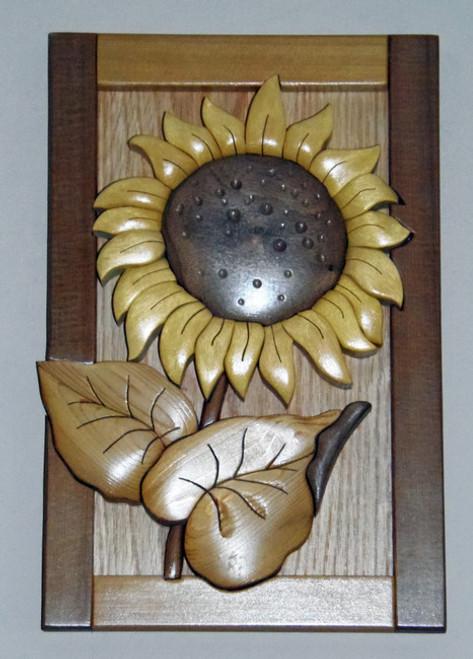 Intarsia Sunflower Wall Plaque Set