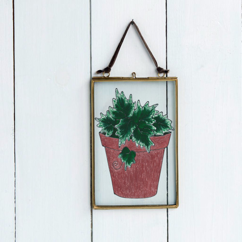 Ivy Pot Faux Stained Glass Window Cling