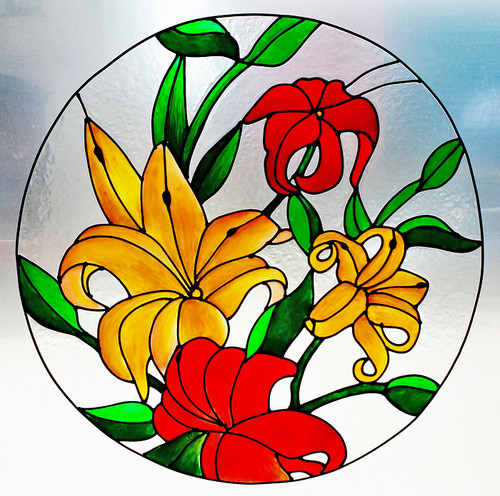 Lilies Round Window Film
