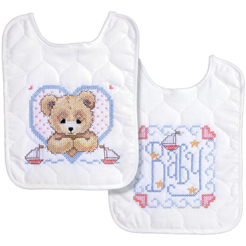 Bedtime Prayer Boy Bib Pair Stamped Cross Stitch Kit
