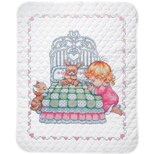Tobin Stamped Quilt Cross Stitch Quilt Kit - Bedtime Prayer Girl