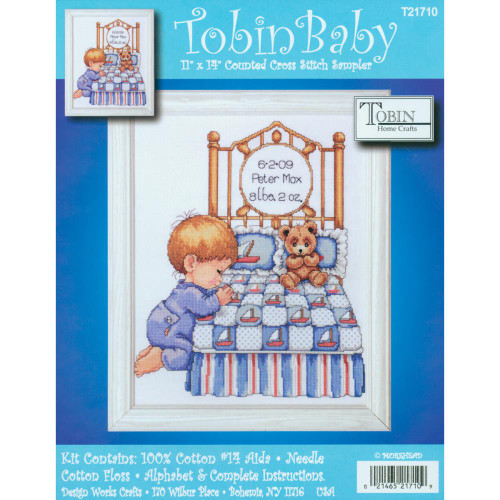 Tobin Counted Cross Stitch Kit - Bedtime Prayer Boy Birth Record