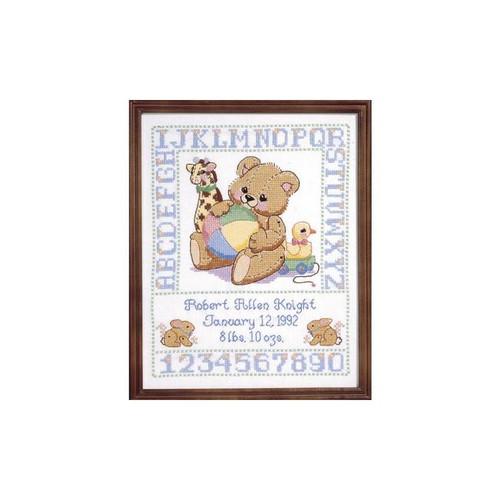 Janlynn Stamped Cross Stitch Kit - Bear Birth Sampler