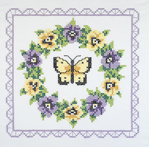 Stamped Cross Stitch Quilt Blocks - Pansy Wreath