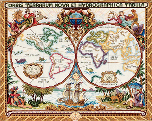 Janlynn Counted Cross Stitch - Olde World Map