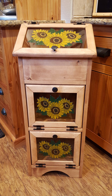 Potato Vegetable Storage Bin - Sunflowers