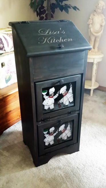 Potato & Onion Vegetable Storage Bin - Personalized Distressed Black