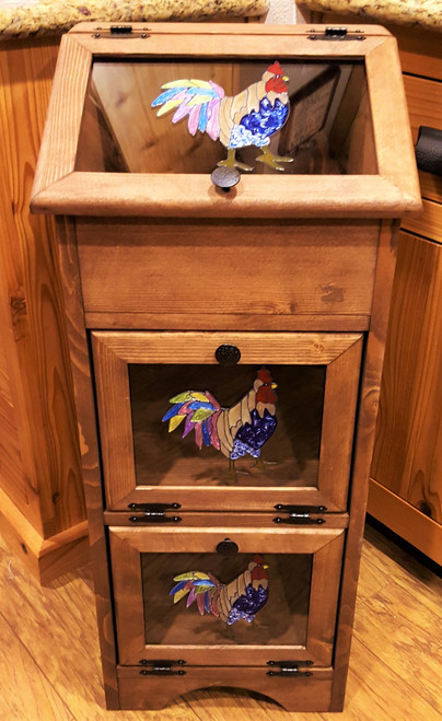 Potato Vegetable Storage Bin - Colorful Tail Rooster (A)