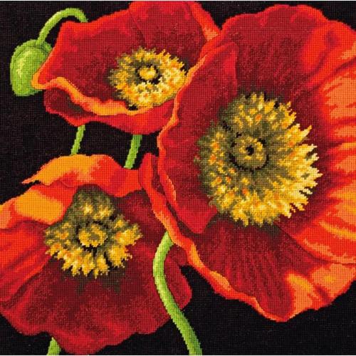 Dimensions Needlepoint Kit - Red Poppy Trio