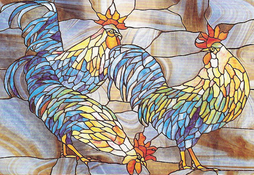 Rooster Trio Faux Stained Glass Privacy Window Film