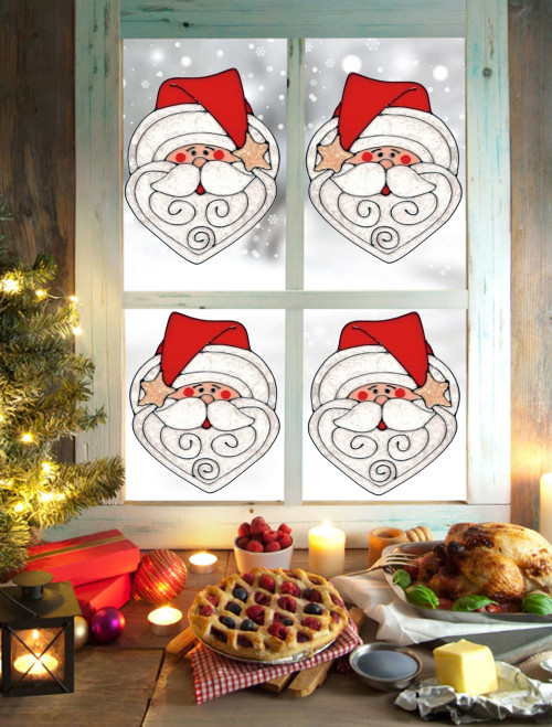 Santa Claus Face Window Cling