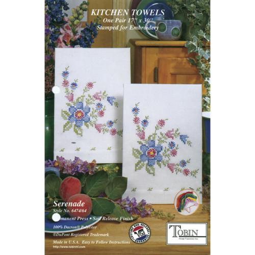 Tobin Stamped Cross Stitch Kitchen Towels - Serenade