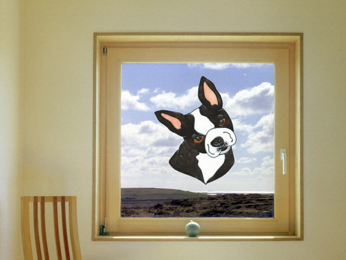 Boston Terrier Faux Stained Glass Window Cling   Colorful Impressions