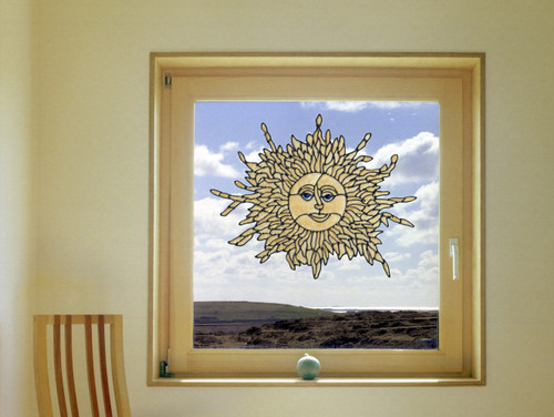 Gold Shimmer Sun Faux Stained Glass Window Cling