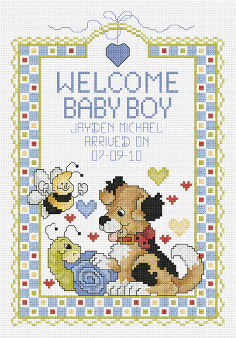 Janlynn Counted Cross Stitch Kit - Welcome Baby Boy Sampler