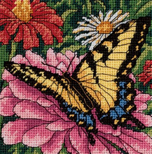 Dimensions Mini Needlepoint Kit - Butterfly On Zinnia