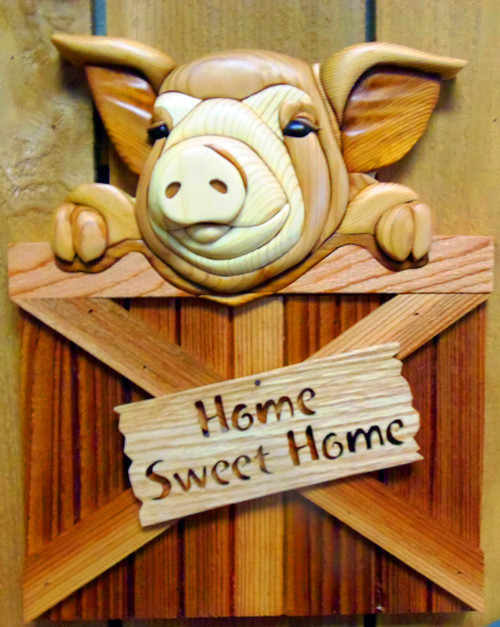 Intarsia Home Sweet Home Pig Wall Plaque
