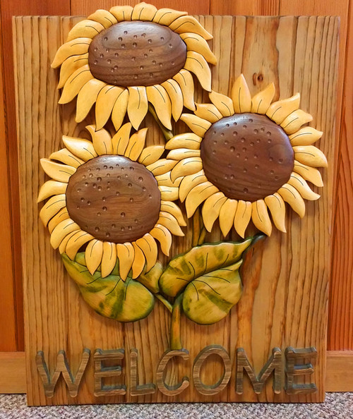 Intarsia Sunflower Welcome Wall Plaque