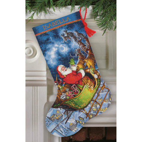 Dimensions/Gold Collection Counted Cross Stitch Kit - Santa's Flight Stocking