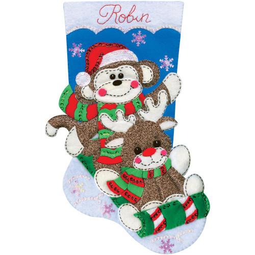 Design Works Felt Applique Stocking Kit - Sock Monkey