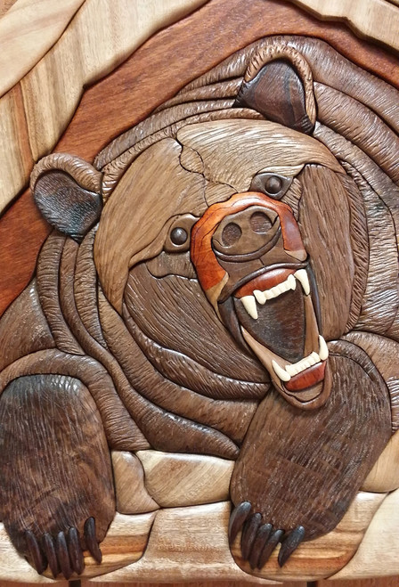 Grizzly Growl Intarsia Wall Plaque