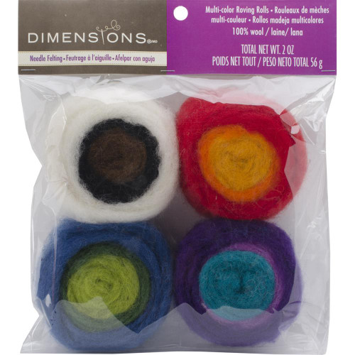 Dimensions Feltworks Roving Rolls 2oz 4/Pkg - Multicolor