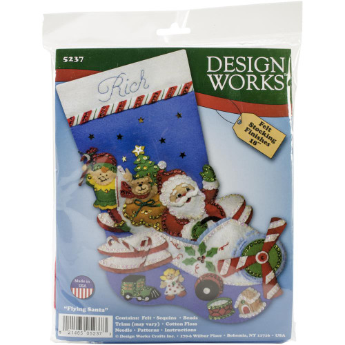 Design Works Felt Applique Stocking Kit - Flying Santa