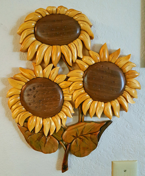 Intarsia Sunflowers Wall Plaque