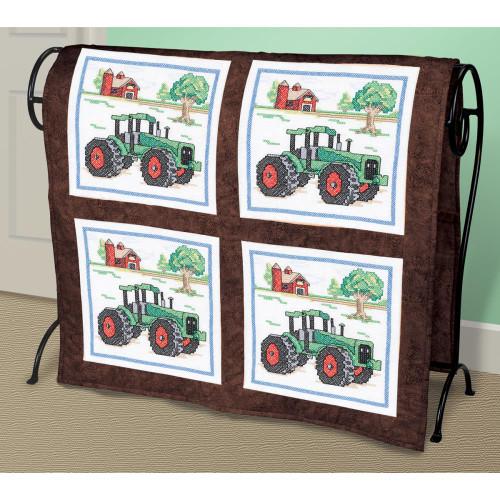 Stamped Cross Stitch Quilt Blocks - Tractor