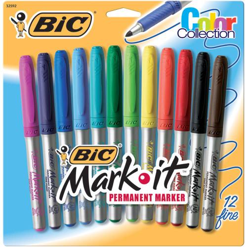 Bic Mark-It Fine Point Permanent Markers 12/Pkg