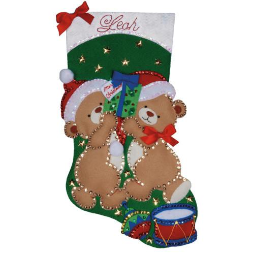 Design Works Felt Applique Stocking Kit - Teddy Bear Fun