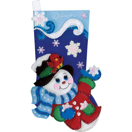 Design Works Felt Applique Kit - Snowflake Snowman Stocking