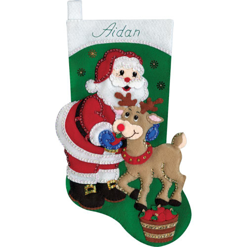 Design Works Felt Applique Kit - Santa & Deer Stocking
