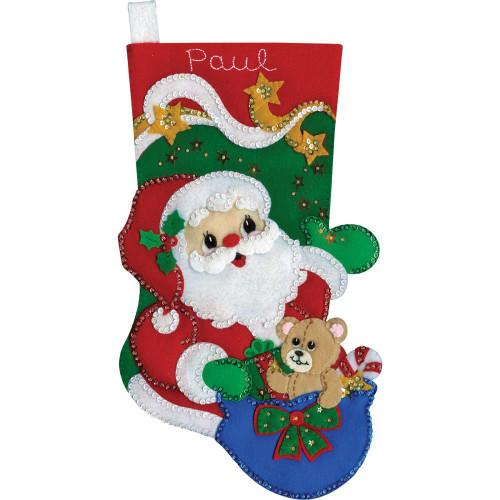 Design Works Felt Applique Kit - Starlight Santa Stocking