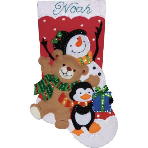 Design Works Felt Applique Kit - Holiday Friends Stocking