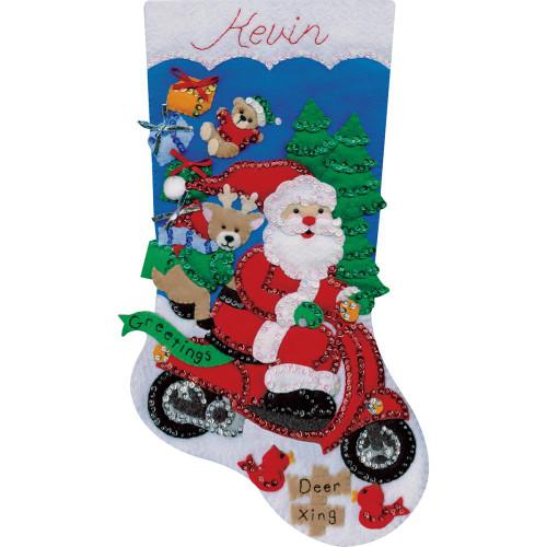 Design Works Felt Applique Kit - Scooter Santa Stocking
