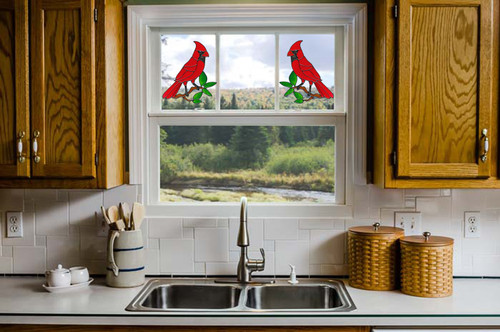 Faux Stained Glass Cardinal Window Cling Set