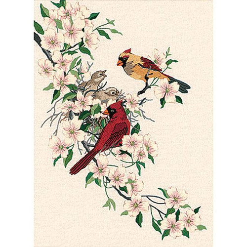 Dimensions Crewel Kit - Cardinals In Dogwood