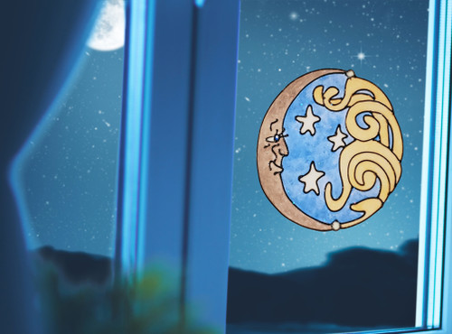 Sun & Moon Window Cling - Silver & Gold | Colorful Impressions