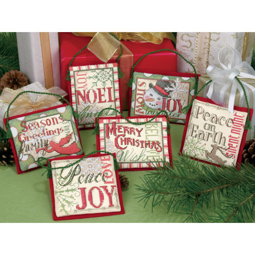 Dimensions Counted Cross Stitch Kit - Christmas Sayings Ornaments